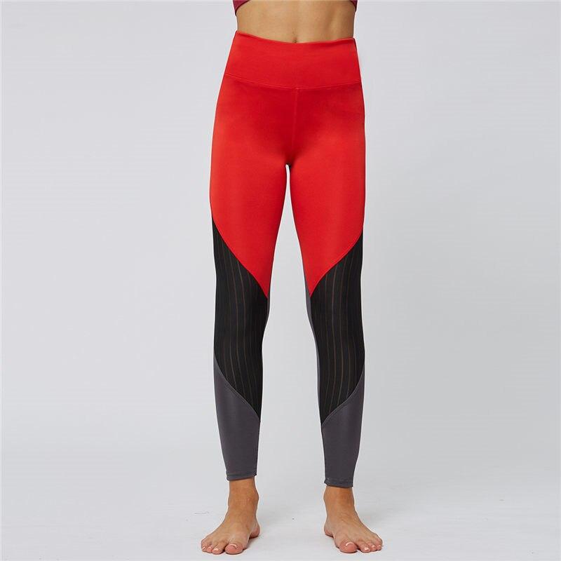 Skinny Womens Yoga Pants Red Gray Mesh Stitching Fitness Running Elastic Sports Leggings