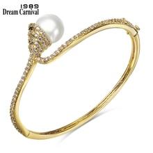 Bangle Bracelet Slim Jewelry Zircon Wedding-Style Luxury Pearl SA00424 1989 Dreamcarnival