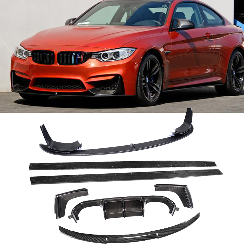 M3 M4 Body Kits Car Bumper Lip Diffuser Spoiler Side Skirts for BMW F80 M3 F82 F83 M4 14-19 Standard Convertible Carbon Fiber image