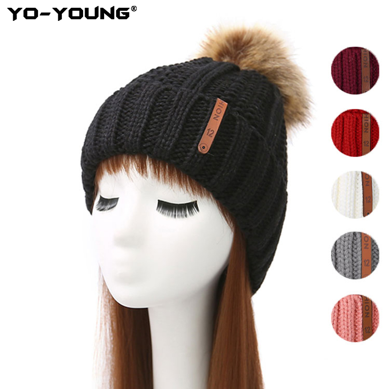 Yo-Young Women Simple Winter Knitted Hat For Girls Beanie Hat Wool Fur Bobble Ball Pompom Beanies Hats Gorros Female Cap