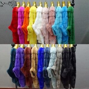 Image 5 - New Luxury women natural mink fur coat stripe zipper cardigan overcoat