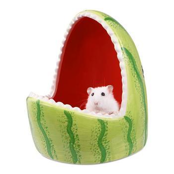Ceramic Hamster House Cartoon Watermelon Shark Shape Small Animal Pet Nesting Habitat Cage Accessories Watermelon Shark Pet Pot