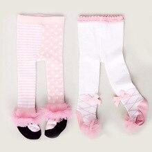 Детские Колготки хлопковые милые колготки с кружевными бантиками для маленьких девочек зимние колготки для новорожденных девочек от 0 до 24 месяцев, Meisje bébе fille Menina Collant