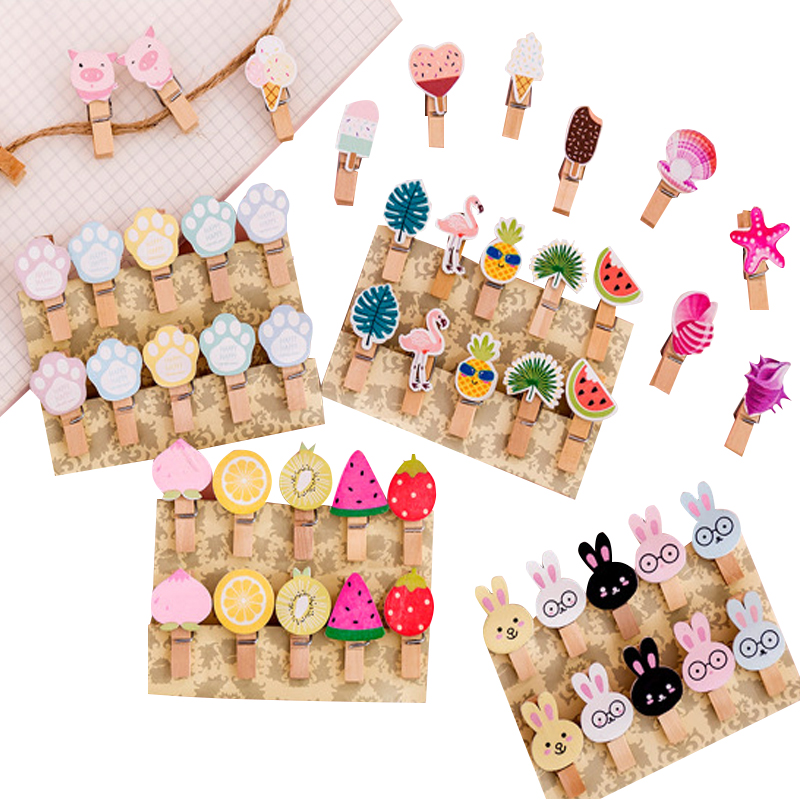 10packs/lot Cute Fruit Flamingo Cherry Blossom Mini Wooden Clothes Photo Paper Peg  Wedding Party Natural Clip Wholesale