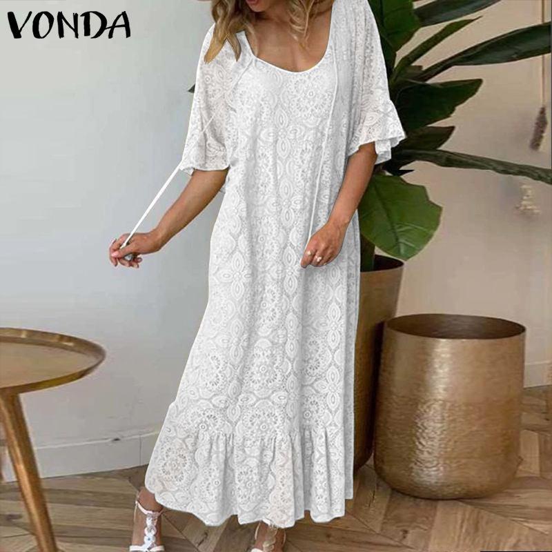 VONDA Party Maxi Dress VONDA Bohemian Sexy Butterfly Sleeve Tassel Long Dress 2019 Female Sundress Summer Plus Size Vestidos