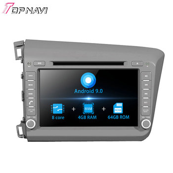 Autoradio 8'' Octa Core Android 9.0 Car Radio GPS For Honda CIVIC Left Driving 2012- Stereo Auto Car DVD GPS Audio Player 2 Din image