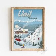 America Travel Scenic Spot Advertising Poster, California Hotel Del Coronado Prints, Colorado Retro Ski Resort Cartoon Picture