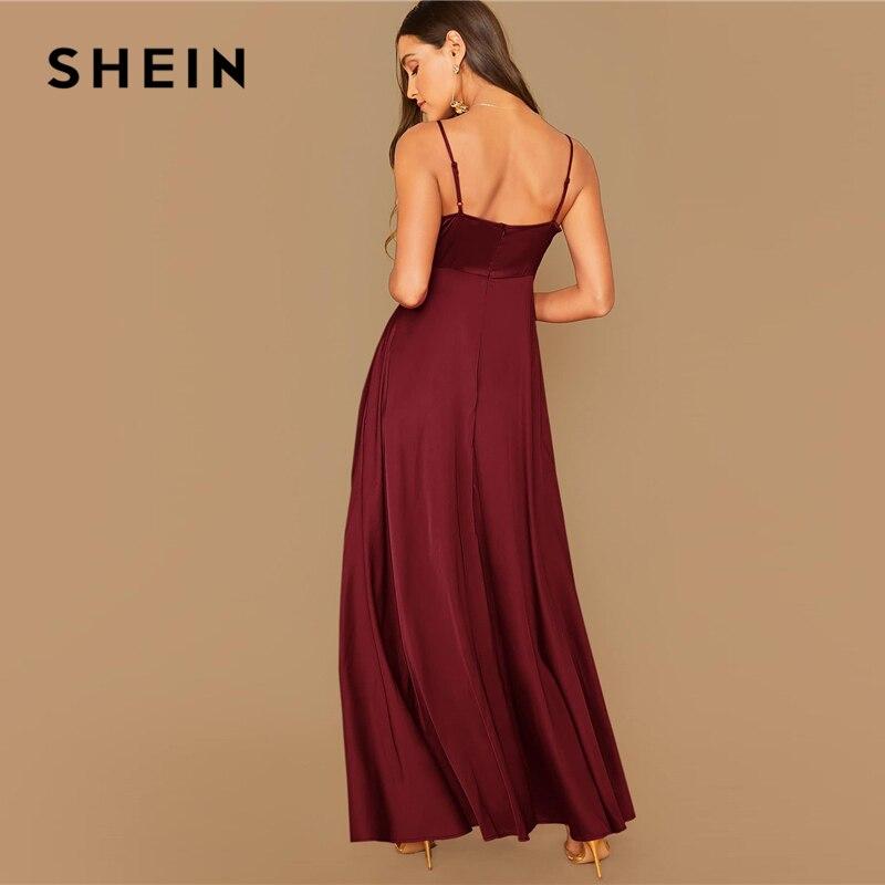 SHEIN Surplice Wrap Solid Glamorous Satin Spaghetti Strap Dress Women Autumn Sleeveless High Waist Sexy Party Cami Maxi Dresses 2