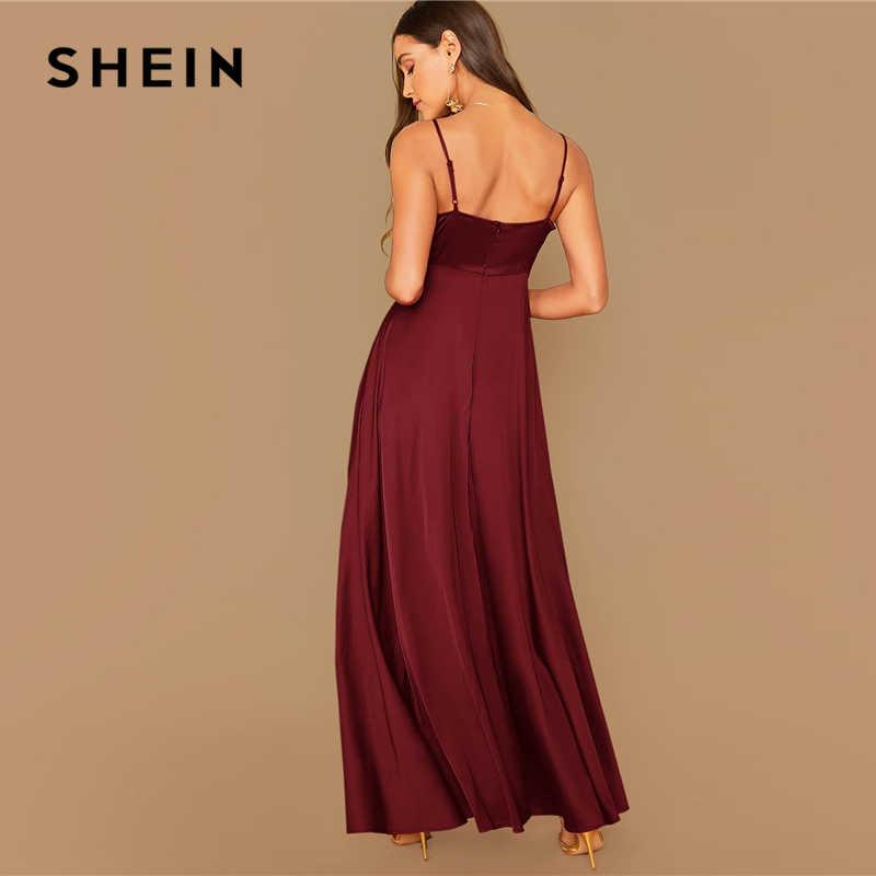 SHEIN Surplice Wrap Glamorous ซาตินสปาเก็ตตี้สายชุดสตรีฤดูใบไม้ร่วงสูงเอวเซ็กซี่ Cami Maxi Dresses