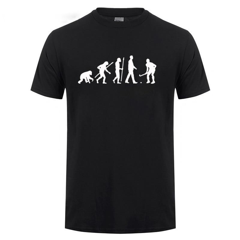 Evolution Field Hockeyer T Shirt Funny Birthday Gift For Men Dad Father Husband Boyfriend Kid Short Sleeve O Neck Cotton T-Shirt