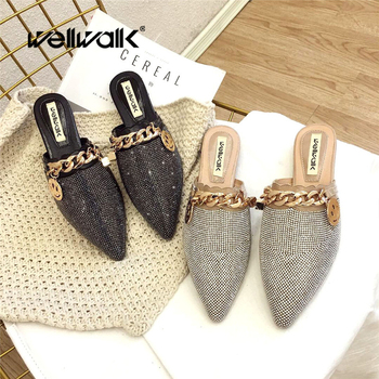 Wellwalk Flat Mules Shoes Rivets Slippers Women Brand Buckle Fashion Slides Ladies Luxury Designer
