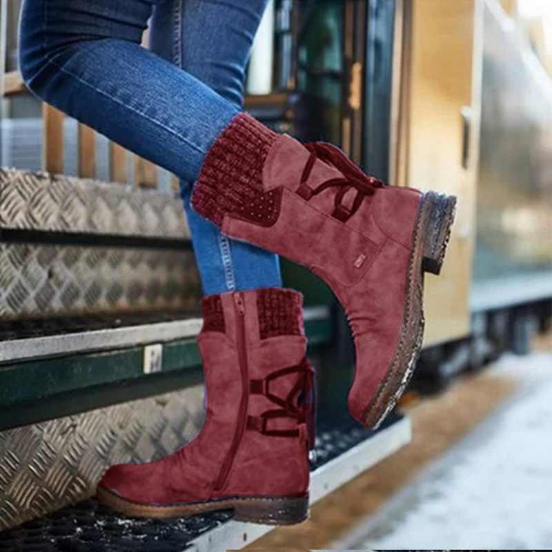 Kadın botları moda sonbahar PU orta buzağı çizmeler ile geri dantel-up tasarım çizmeler katı renk düşük topuklu ayakkabı Botas Mujer 2019
