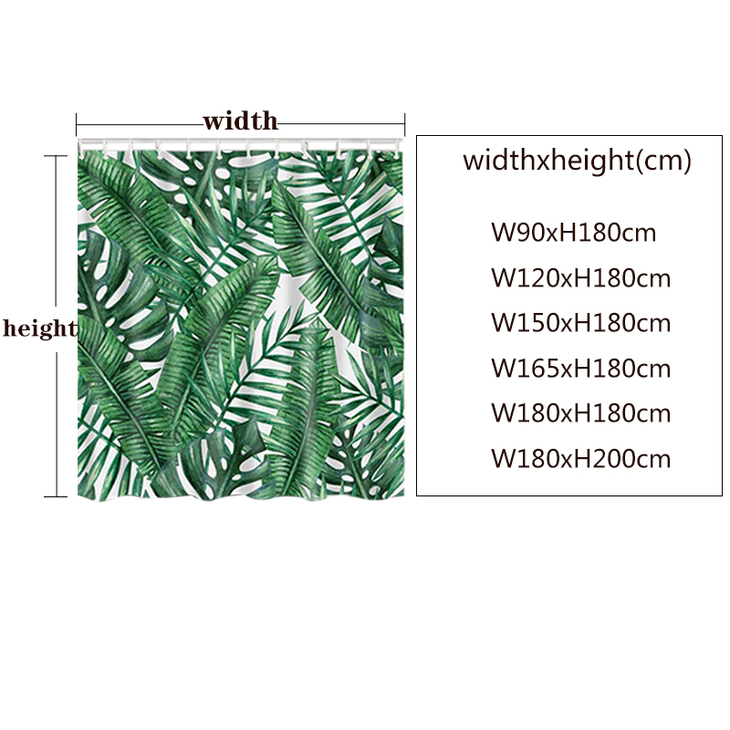 Image 5 - Green Tropical Plants Shower Curtain Bathroom Waterproof Polyester Shower Curtain Leaves Printing Curtains for bathroom shower-in Shower Curtains from Home & Garden