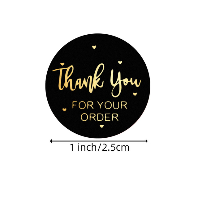 """""""THANK you for your order""""sticker for envelope sealing labels sticker black pink transparent gold sticker stationery supply 2"""