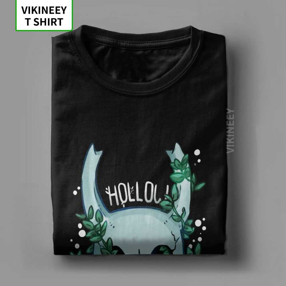 Baru Hollow Knight T-shirt untuk Pria Kru Leher 100% Katun Kaos Tengkorak Video Game Lengan Pendek TEE Dicetak Tops