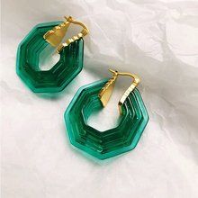 Hot Europe Fashion Rhombic Geometric Pattern Acrylic Hoop Earrings Women Simple Resin Irregular Hexagon Transparent Pendientes