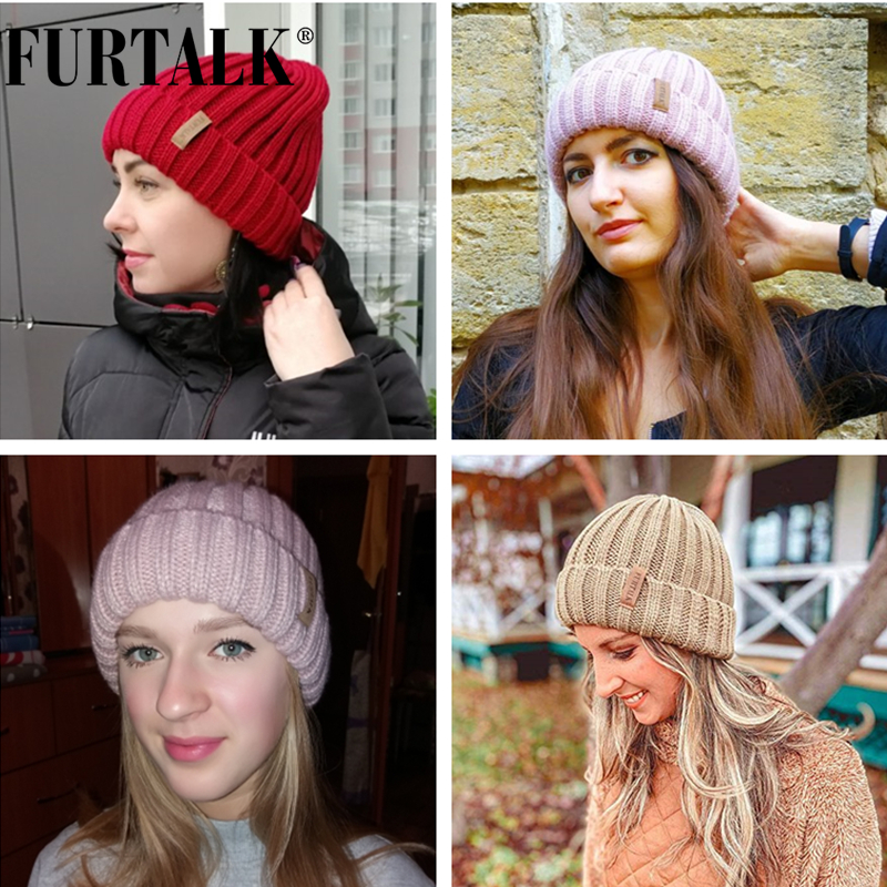 FURTALK Winter Hat for Women Beanie Hat with Fleece Lining Men Lady Knitted Winter Cap for Female Girl Red Black White Pink Grey 5
