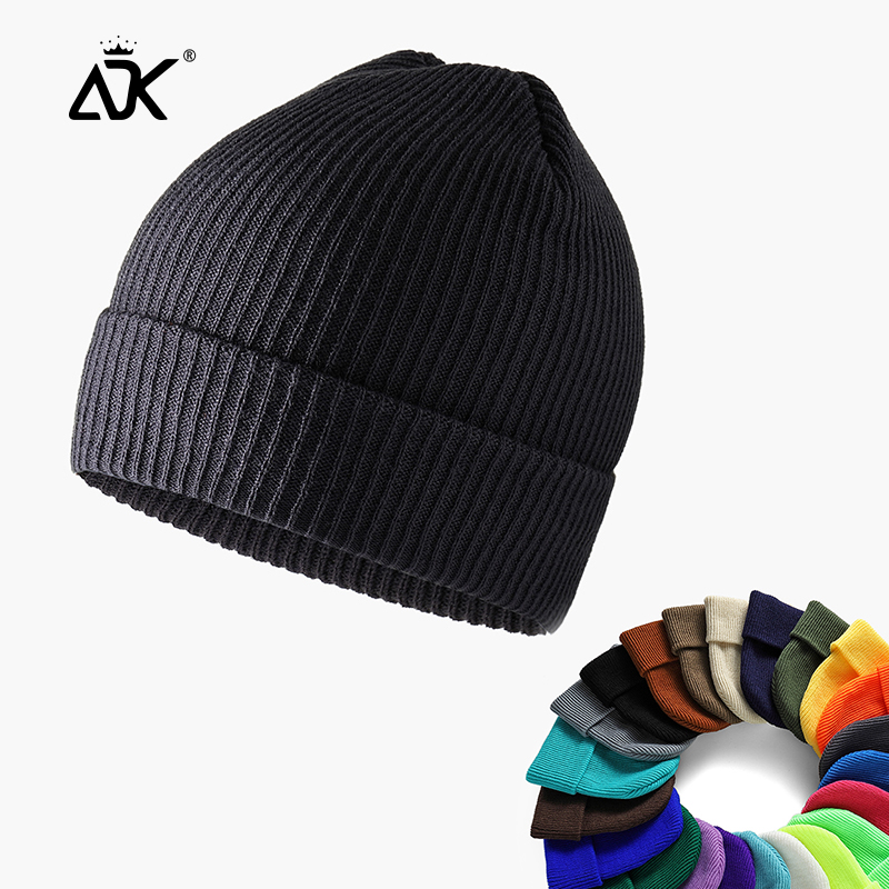 Unisex Hats For Winter Acrylic Knitted Cuffed Cap Hip Hop Sailor Cap For Woman Ribbed Short Breathable Hats Thicker Beanie