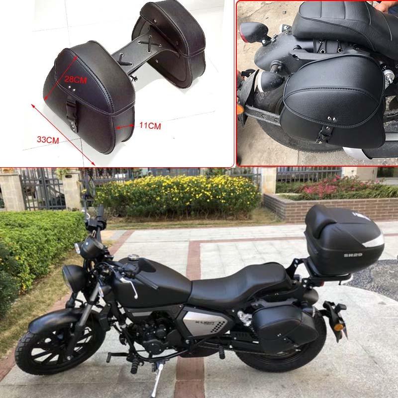 Motorcycle Bag Leather Saddle Bags 2pcs For Harley Sportster XL 883 XL 1200 Side Tool Bag Luggage alforjas para moto saddlebags (21)