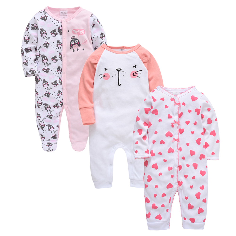 Baby Girl Romper Organic Cotton ropa bebe 3PCS/Set Full Sleeve Newborn pijamas Baby Boy Clothes Summer Baby Clothing Jumpsuit