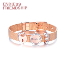 Endless Friendship DIY Stainless Fine Bracelet Steel Rhinestone Heart Lock Daughter Gift Mesh For Women Metal Wristband