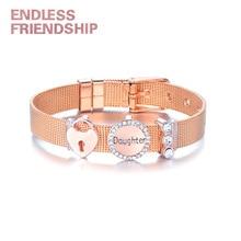 Endless Friendship DIY Stainless Fine Bracelet Steel Rhinestone Heart Lock Daughter Gift Mesh Bracelet For Women Metal Wristband все цены