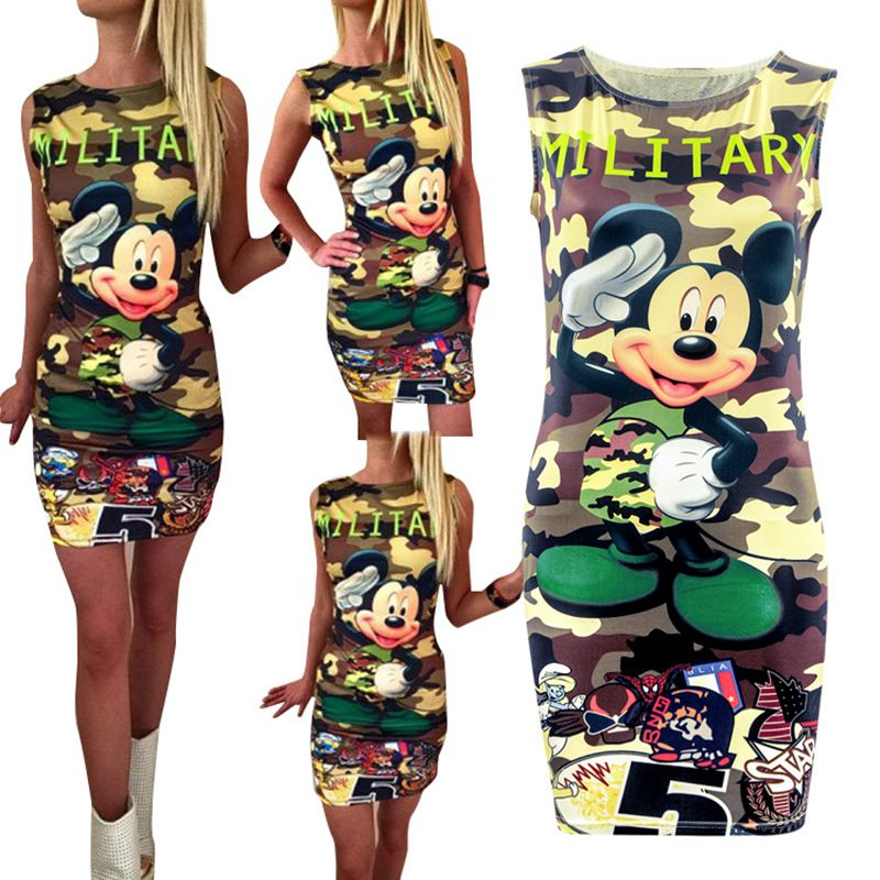 Ha51e8e3403a54dfbb8af027a1e6c8898T Festy Kary New Arrival 2018 Women Dress O Neck Sleeveless Cartoon Print Camouflage Color Elegant Sexy Ladies Dresses