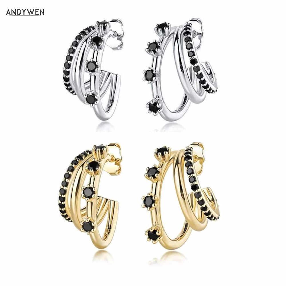Triple Circles 925 Sterling Silver Hoop Earrings