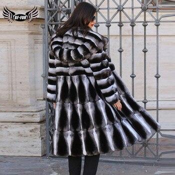 Women Real Fur Jacket Natural Chinchilla Rex Rabbit Fur Coat 100 cm Long Wholeskin Thick Genuine Rex Rabbit Fur Coats Winter цена 2017
