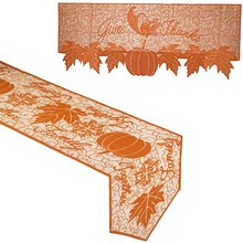 Thanksgiving Day Decoration Fireplace Scarf and Pumpkin Table Flag Set - Pumpkin Lace Fireplace Cloth and Maple Leaf Leaf Cellar(China)