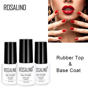 ROSALIND Gel Polish Top Base Coat  UV Lamp Gel  Soak Off Reinforce 7ml Long Lasting Nail Art Manicure Gel Lak Varnish Primer
