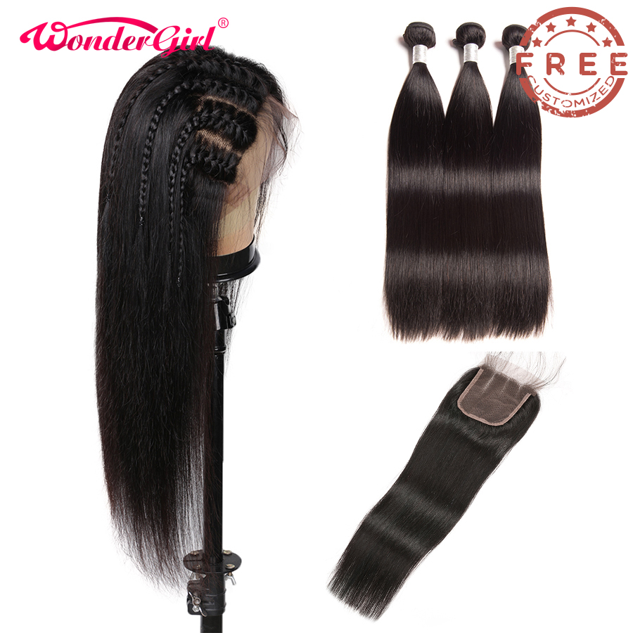 Free Customized Straight 4*4 Lace Closure Wig 300 Density By Brazilian Remy Straight Human Hair Bundles With Closure No Tangle