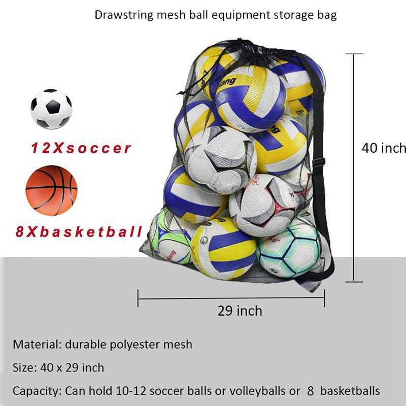 Bolsa de bola de malla resistente ajustable con cordón deslizante bolsa de almacenamiento para equipos deportivos de baloncesto, fútbol, deportes, Playa