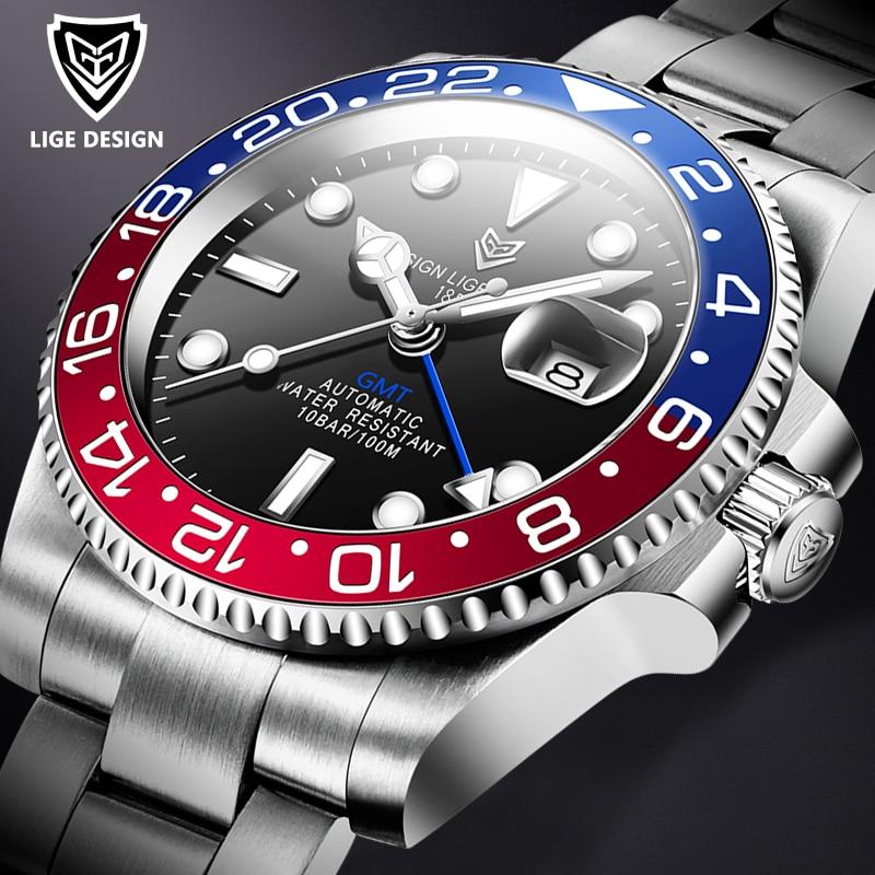 Часы наручные LIGE мужские с сапфировым стеклом, 40 мм, керамические автоматические механические, водонепроницаемые до 100 м