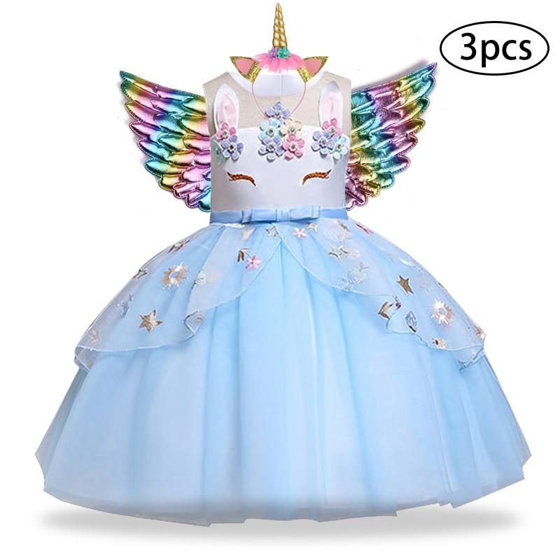 Ha51ee294478e485ba642971f63106a02E New Girls Dress 3Pcs Kids Dresses For Girl Unicorn Party Dress Christmas Carnival Costume Child Princess Dress 3 5 6 8 9 10 Year