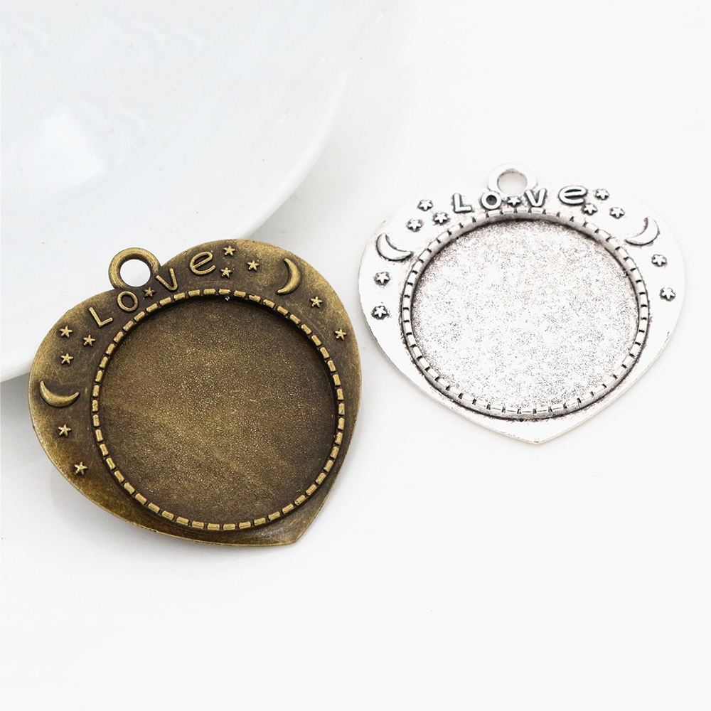 New Fashion 5pcs 25mm Inner Size Antique Silver Plated And Bronze Love Cameo Cabochon Base Setting Charms  Pendant