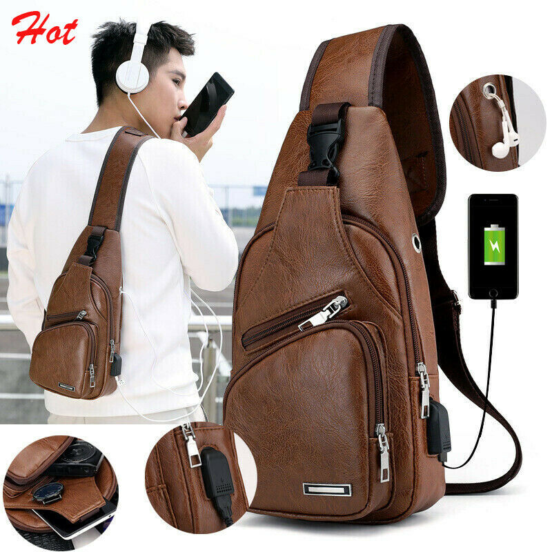Fashion Simple Casual Men's Shoulder Bag Sling Chest Pack USB Charging Sports Crossbody Handbag