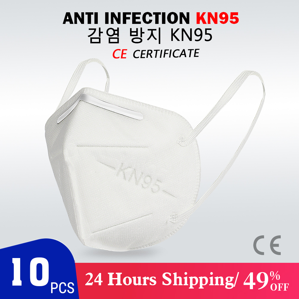10PCS KN95 Mask CE Certification Mouth Face Mask Dust Anti Infection Mouth Masks PM2.5 Anti-fog Protective Respirator Reusable