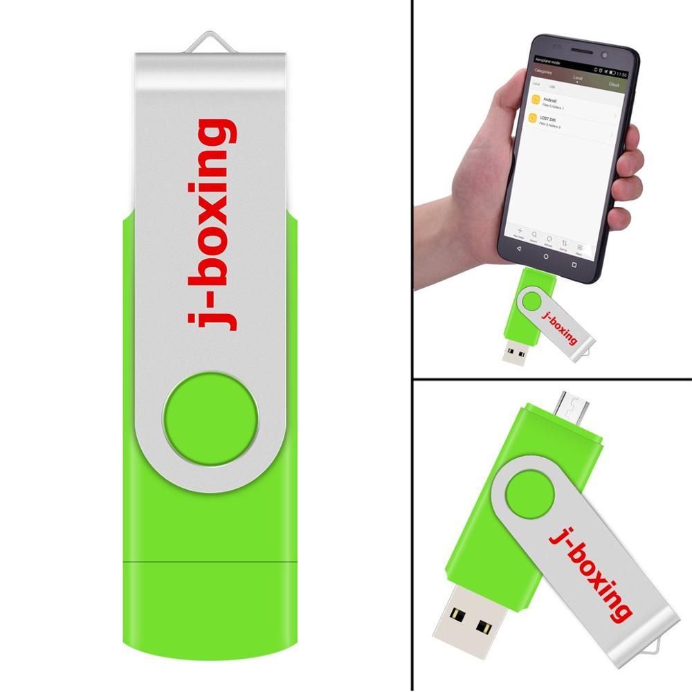 J-boxing Green OTG USB Flash 16GB Dual Port Pendrive 16gb Micro USB Flash Drives Memory Stick For Android Samsung Huawei Tablet