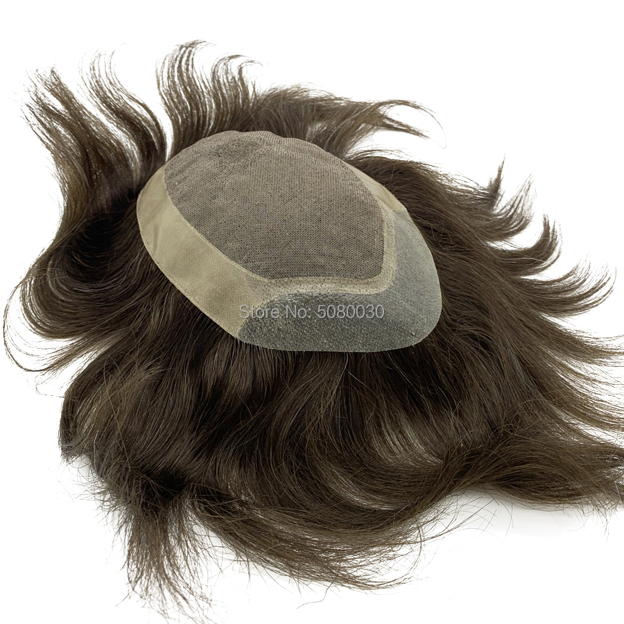 Custom Made Toupee Mono Lace Base Man Weave Unit Human Hair Mens Wigs