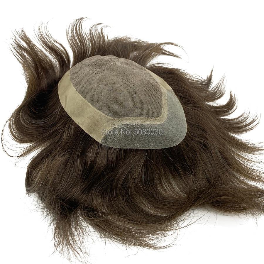 Custom Made Toupee Mono Lace Base Man Weave Unit Human Hair Mens Wigs