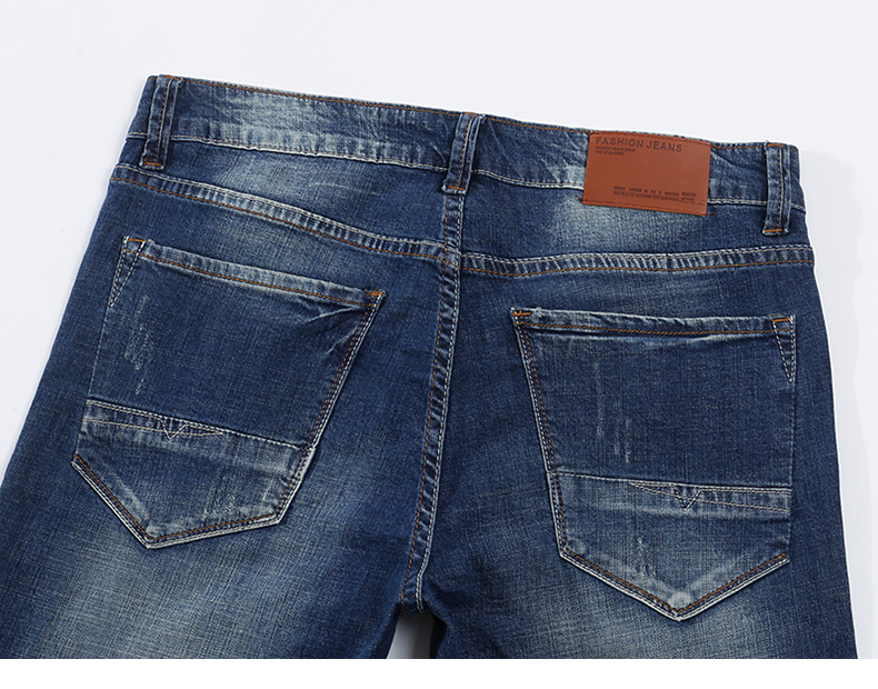 KSTUN Men's Jeans Classic Direct Stretch Dark Blue Business Casual Denim Pants Slim Straight Long Trousers Gentleman Cowboys 38 14