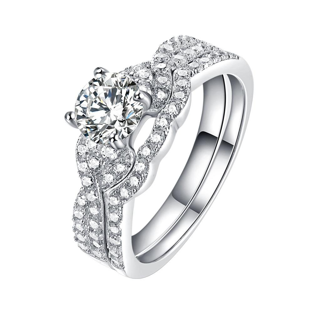 2 шт., 925 пробы, Серебряное Женское Обручальное кольцо, наборы в викторианском стиле, белые CZ камни, классические ювелирные изделия для женщин