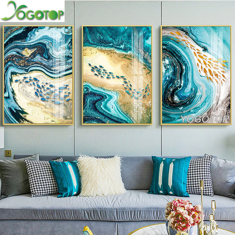 5D Diamond Painting Waves and Flowers Abstract Kit