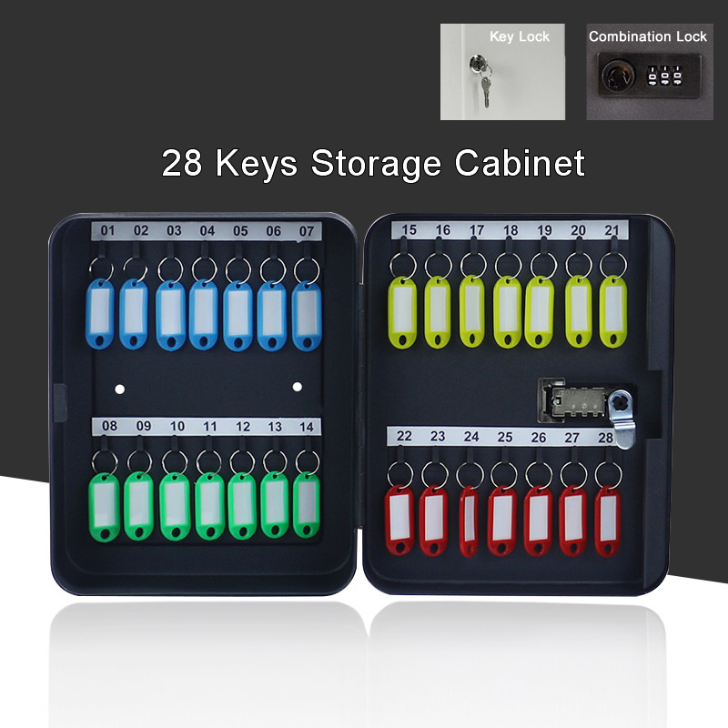 Metal 28 Keys Security Cabinet Safe Storage Box Combination/Key Lock Spare Car Keys Organizer For Home Office School Hotel