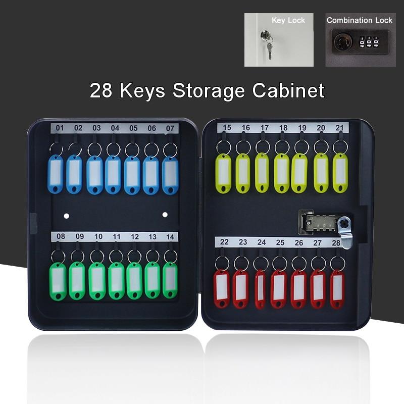 Metal 28 Keys Security Cabinet Safe Storage Box Combination/Key Lock Spare Car Keys Organizer For Home Office School Hotel