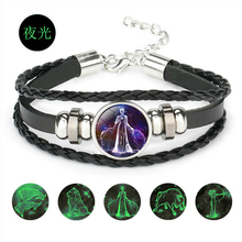 Luminous 12 Constellation Zodiac Sign Bracelet Glow in the Dark Fashion Personality Leather for Unisex Lovers