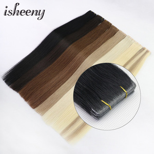 Isheeny Straight PU Skin Weft Hand Tied Tape In Adhesives Remy Human Hair Extensions 18