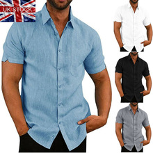 Mens Linen Blouse Short Sleeve Baggy Buttons Summer Solid Comfortable Pure Cotton And Linen Casual L