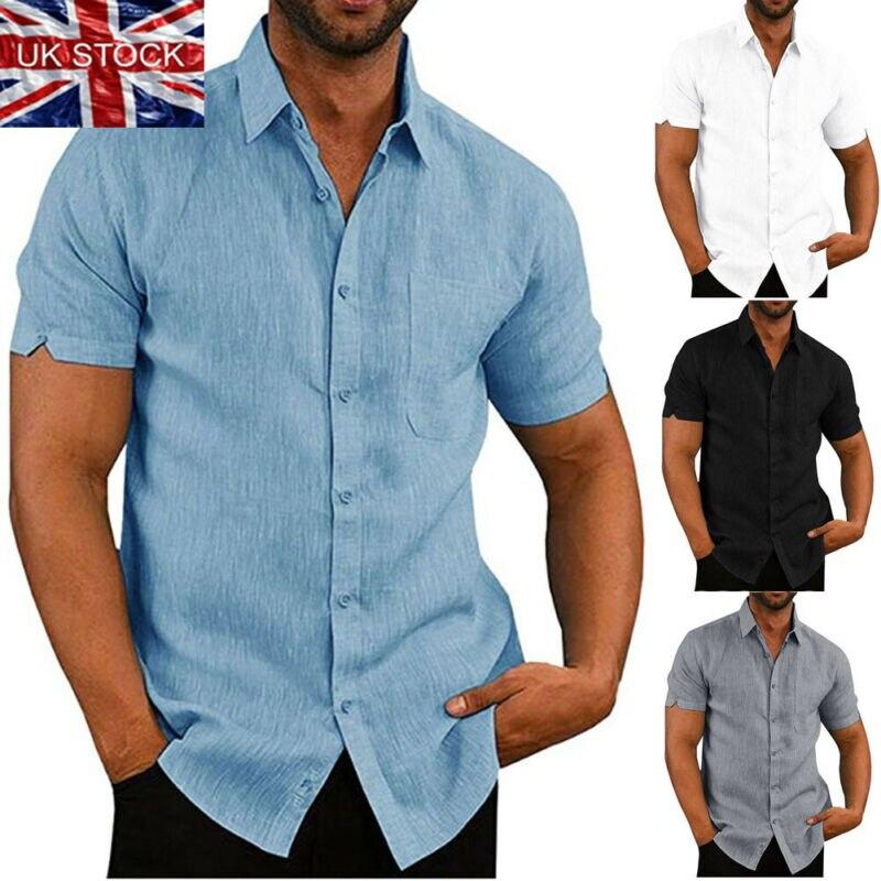 Mens פשתן חולצה קצר שרוול בבאגי כפתורי קיץ מוצק נוח טהור כותנה ופשתן מקרית Loose חג חולצות טי חולצות